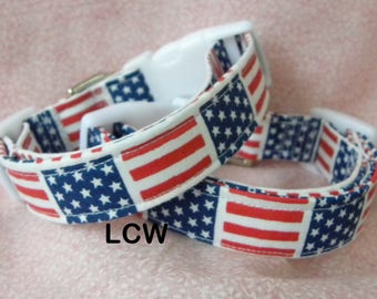 Dog Collar Patriotic Flag Squares Labor Day Memorial Day Collars Adjustable Collars D Ring Choose Size  Veterans Accessories Pet