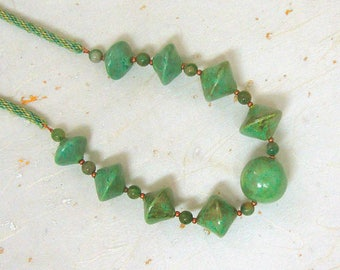 Ceramic beaded necklace green necklace