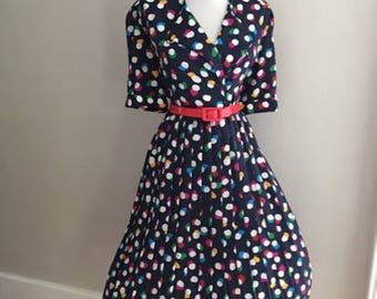 Vintage 50s Style Polka Dot Dress / Retro 80s Secretary Dress / Pin Up Shirt Dress / Short Sleeve Dress /  Full Skirt Day Dress / Mad Men
