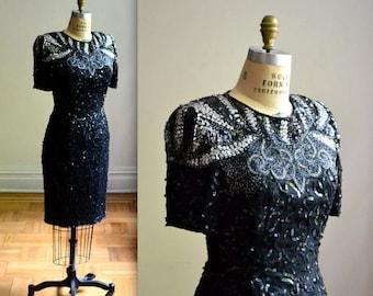 SALE Vintage Black Sequin Dress Size Medium// VIntage Sequin and Beaded Dress Size Medium Flapper Style Art Deco