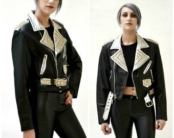 SALE Vintage Black Leather Biker Jacket with Rhinestones & Silver Studs Medium// Metallic Studded Black Leather Moto Jacket Silver and black