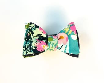 Fathers Day Bowtie  // Teal Flowers // Polka Dot Chambray // Reversible Bowtie // Summer Wedding // Groom // Durian and the Lyon