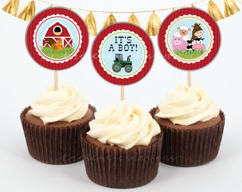 Farm Animals Cupcake Toppers - 2 inches - Instant Download
