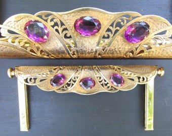 Antique Purse Frame Gold Tone with Faceted Amethyst Rhinestones Vintage c. 1900-1910s