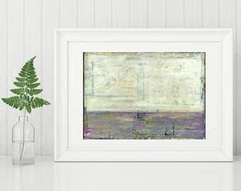 """Abstract Print, Mixed Media Art Print, Abstract Landscape, Abstract Art, Landscape Print, 8""""x10"""" or 11""""x14""""  purple, """"Lavender Fields"""""""