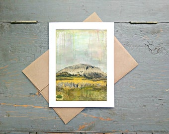 """Mountain Card, 5x7"""" Greeting Card, Mixed Media Card, Recycled Card, Eco-Friendly, Colorado Card, Fall Card, Autumn Card, """"Crested Butte I"""""""
