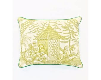 Citrine Toile and Blue Dot Reversible Pillow Cover