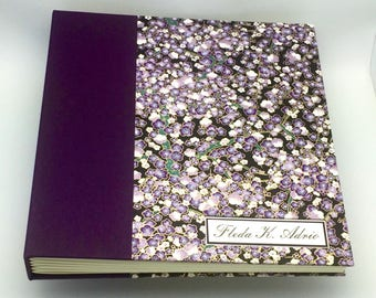 Custom made Photo Album, Purple with Purple Plum Blossoms, Choose Your Size, Personalize it