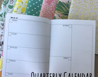 UNDATED Quarterly Calendar erimonTN CAHIER Inserts Notebooks Journals Planners