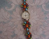 "RESERVED - Vintage Native American Southwestern Ladies Wrist Watch, Sterling w/ Multi Gemstones, 6 1/2"",  Toggle Clasp, D Cadman"