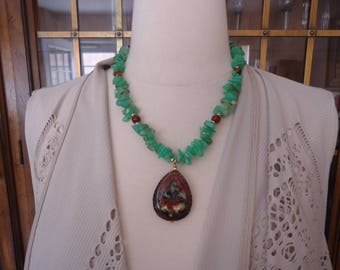 Handmade Vintage Beaded Chrysoprase and Amber Necklace w/ Gold Filled Accents and Cloisonne Pendant