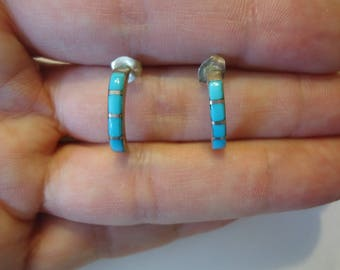 Vintage 925 Sterling Silver and Turquoise Quarter Hoop Earrings, Pierced Post