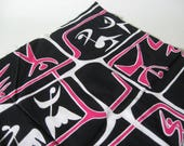 The 80s called... vintage novelty cotton poly fabric abstract dancer black pink white 2 yards available non directional