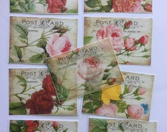 9 Edible image Vintage Roses Postcards for your iced sugar cookies, cakes, chocolates and baked dessert bars.