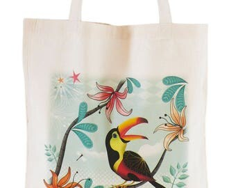 "Cotton tote bag bag organic ""Toucan"", green bird, muticolore, girl, teen, woman gift"