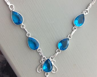 Swiss blue Topaz necklace sterling silver India