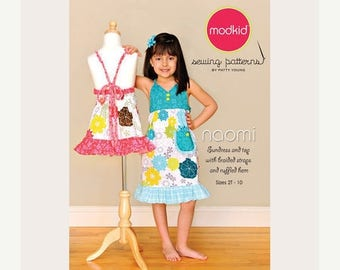 SALE 10% Off - Modkid Sewing Pattern by Patty Young - NAOMI - Sundress and Top with Braided Straps and Ruffled Hem - Girls Dress Pattern