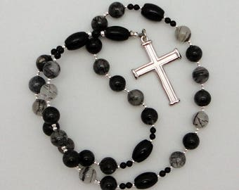 Anglican Rosary / Protestant Prayer Beads in Black Tourmalated Quartz with Vintage Sterling Silver Cross