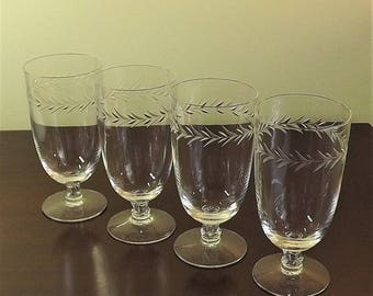 Crystal Juice Glasses, Fine Crystal Stemware, Teardrop Short Stemmed Small Glass, Fostoria Christmas Holly, Set of 4 Mini Tumblers