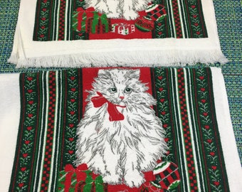 Vintage Holiday White Cat Terry Kitchen Towel Set of 2 -retro kitchen towel,holiday kitchen towel,terry towel with cat, cat towel