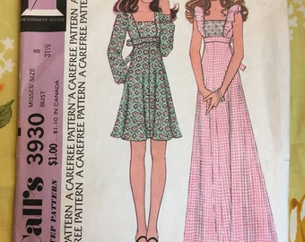 1974 McCall's Sewing Pattern 3930 Misses Short or Long Empire Waist Ruffle Bodice Hippie Dress Size 8 cut-boho dress, hippie dress, dress