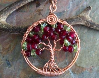 Garnet Tree of Life Pendant,Garnet/Peridot Tree of Life Necklace,Wire Wrapped Garnet Tree of Life,January and August Birthstone Tree life