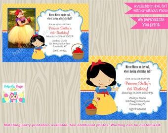 Snow White Invitation snow white birthday invitation snow white invite photo picture printable DIY digital