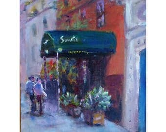 Original oil painting Greenwich Village Brownstone people NYC  14x11