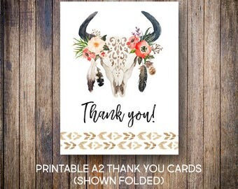 Floral Antler Thank You Card, Boho Thank You Notes, Bridal Shower Thank You, Rustic, Watercolor, Digital Download, Printable Cards, 910