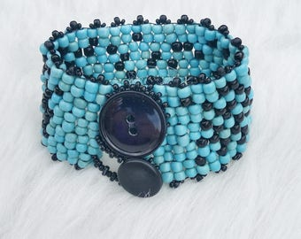 SALE Black and Turquoise Beaded Cuff Bracelet with Button Closure