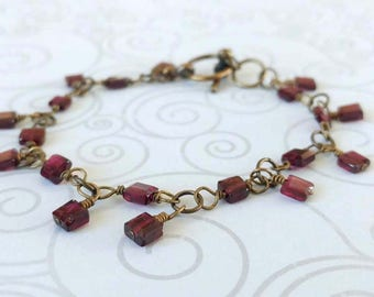 Faceted Squares, Garnet Gemstone Bracelet on Antiqued Gold Plated Brass