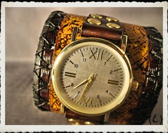 Yellow leather cuff -  watch  - Mundus