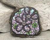 Reserved Custom Iridescent White Flower - Garden Stone, Garden Decor'