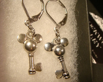 Antique Silver Disney Inspired Mouse Ear Key Earrings (2362)