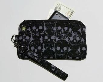 READY TO SHIP Black Skulls Phone Wristlet, Fabric Clutch, Zipper Pouch, Detachable Strap, Black and Gray