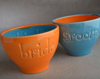 Bride Groom Ice Cream Bowls Ready To Ship Bride & Groom Stamped  Soup Cocoa Cups by Symmetrical Pottery