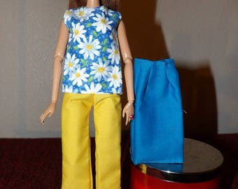 Colorful 3 piece set of top, pants & skirt for Fashion Dolls - ed1018