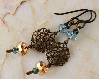 Blue Sky Yellow Sun Swarovski Earrings Artisan Natural Brass Fashion Elegant Earrings Filigree Charms