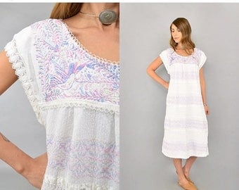 SUMMER SALE Embroidered Pastel Mexican Dress