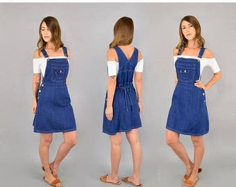 SUMMER SALE 70's Denim Suspender Dress