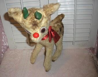 Christmas  Vintage Rare  Plush Short Hair Rudolph the Red Nose Reindeer