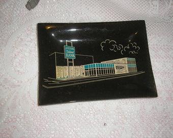 Retro Mid Century Jamestown National Bank Glass Ash Tray