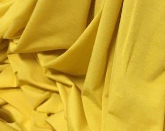 Micro Bamboo 4 Ways Spandex Knit Jersey Fabric Ecofriendly Luxury Sunyellow 6 oz  / Lineal yard