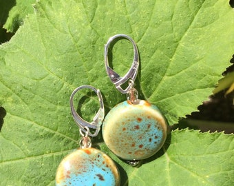 Blue and green ceramic earrings