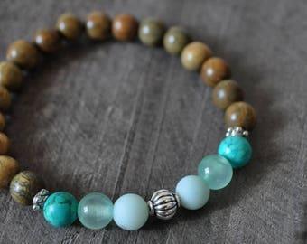 Bracelet mala - Bois de santal - Turquoise - Bleu - Mer - Océan - Bijou méditation - Coco Matcha