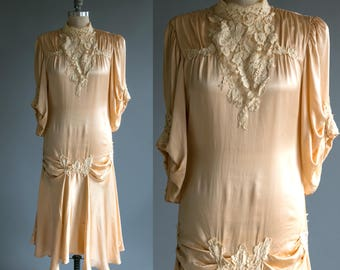 Vintage 1930's Soft Pink Satin and Lace Dress/ Women's Medium Large/ High Fashion
