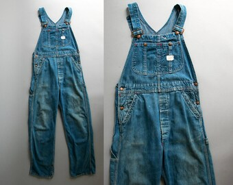 Vintage 1950's Big Mac Square Bak Distressed Denim Overalls/ Union Made JcPenney / Work Wear / Americana / Cotton / Unisex