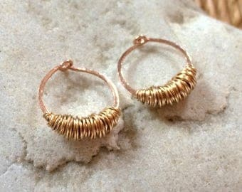 Small Rose Gold Yellow Gold Wrapped Wire Hoops Sleeper Hoops Huggie Huggy Hoops Mixed Metal Earring Hammered Wire Jewelry Hoops with Texture