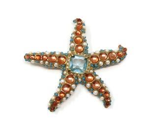 Vintage KJL  Kenneth Jay Lane Starfish Brooch, Blue Rhinestone, Faux Turquoise, Designer Jewelry, Orange Cabochon, Vintage Jewelry