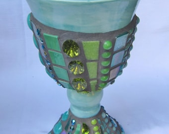 Mosaic Chalice Goblet blue-green